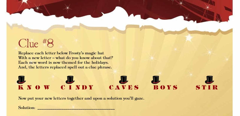 Christmas treasure hunts clue