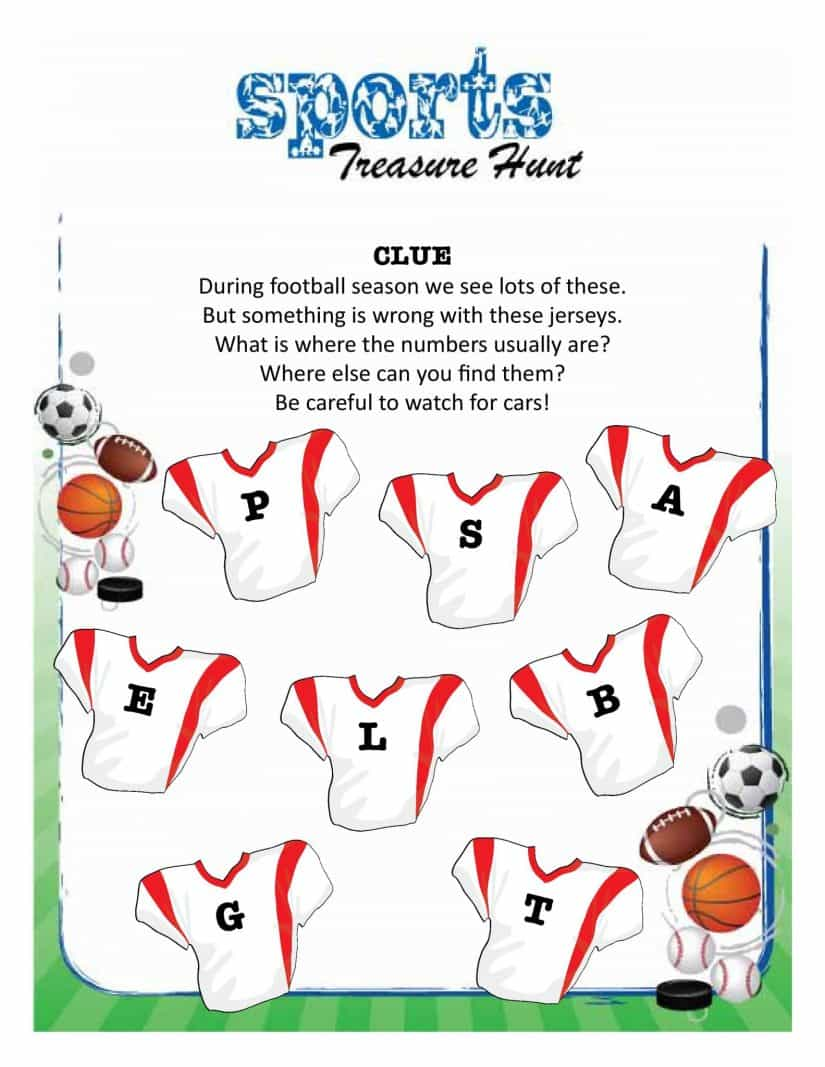 treasure hunts sports clue